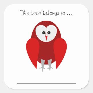 この本はに…属します(赤いフクロウ) スクエアシール