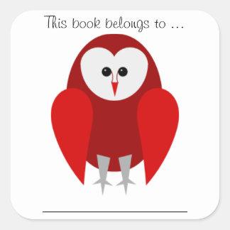 この本はに…属します(赤いメンフクロウ、大きい) スクエアシール