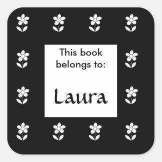 この本は花の蔵書票のステッカーに属します スクエアシール