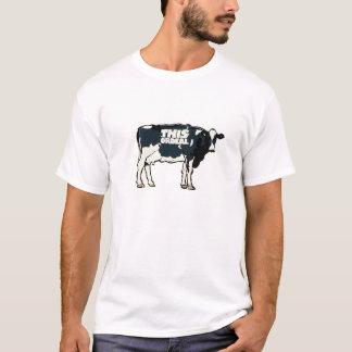 この試練の質のTシャツ牛モチーフの白 Tシャツ