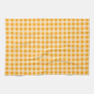 こはく色のオレンジギンガム; チェック模様 キッチンタオル