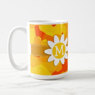 こはく色のオレンジ迷彩柄; デイジー コーヒーマグカップ
