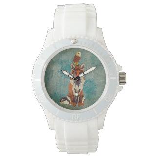 こはく色のキツネ及びフクロウの腕時計 腕時計