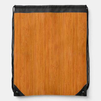 こはく色のタケ木製の穀物の一見 ナップサック