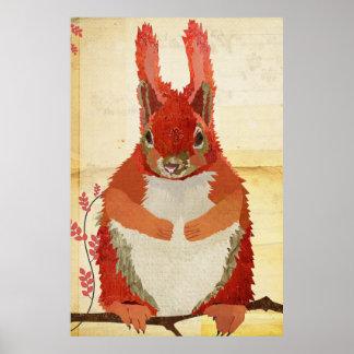 こはく色のリスの芸術ポスター ポスター