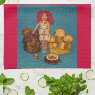こはく色の妖精の国の人形 キッチンタオル