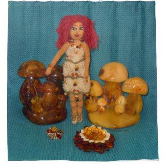 こはく色の妖精の国の人形 シャワーカーテン