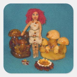 こはく色の妖精の国の人形 スクエアシール