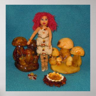 こはく色の妖精の国の人形 ポスター