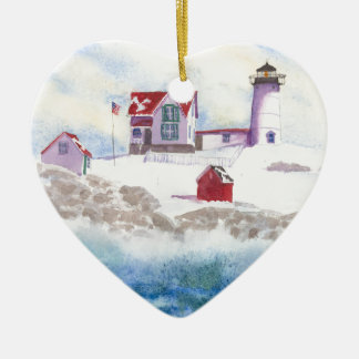 こぶの灯台メインのハートのオーナメントの冬 セラミックオーナメント
