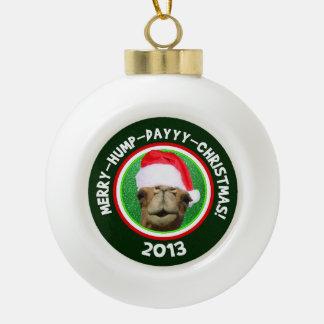 こぶ日のクリスマスの2013年のラクダのサンタのメリーなオーナメント セラミックボールオーナメント