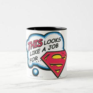 これはスーパーマンを仕事のように見えます ツートーンマグカップ