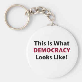 これは民主主義が見えるものにです! ベーシック丸型缶キーホルダー