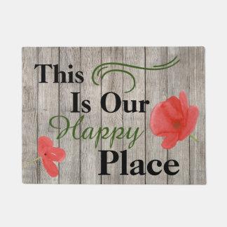 これは私達の幸せな場所のケシの花のドア・マットです ドアマット