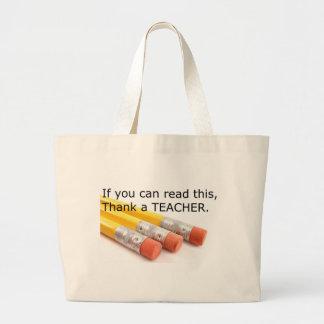 これを読むことができたら先生を感謝していして下さい ラージトートバッグ