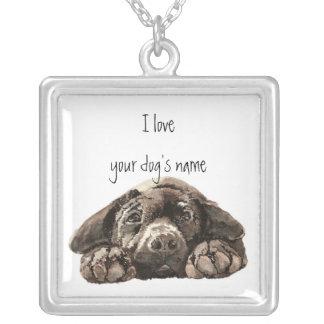 これをI愛私の犬の黒のラブラドールカスタマイズ シルバープレートネックレス