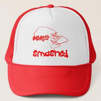 こわされたトラック運転手の帽子赤い衝突された車 キャップ