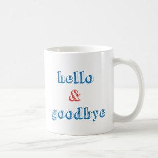 こんにちはおよびさようなら文字デザイン コーヒーマグカップ