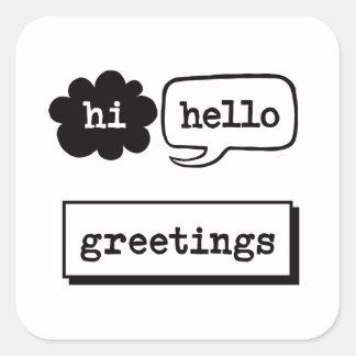 こんにちはこんにちは挨拶 スクエアシール