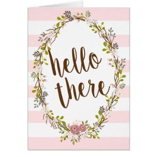 こんにちはそこに花のリースのサンキューカード カード