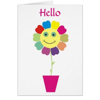 こんにちはにこやかで幸せな顔の花の挨拶状 カード