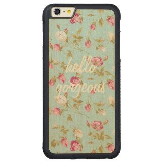 こんにちはぼろぼろの豪華なヴィンテージの花パターンは上がりました CarvedメープルiPhone 6 PLUSバンパーケース