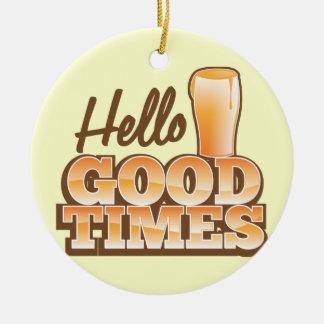こんにちはよい時! ビール店のデザイン セラミックオーナメント