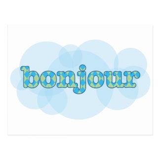 こんにちはアーガイル柄のなパターンが付いているフランスのなbonjourで ポストカード