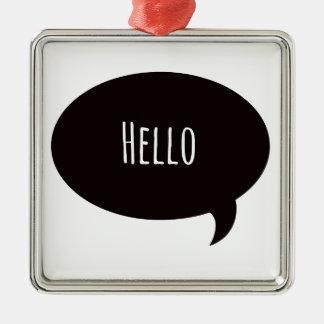 こんにちはスピーチの泡の引用文 メタルオーナメント