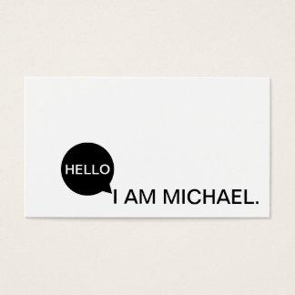 こんにちはスピーチの泡|カジュアルでモダンな黒い及び白 名刺