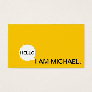 こんにちはスピーチの泡|カジュアルなモダンな黒く及び黄色 名刺