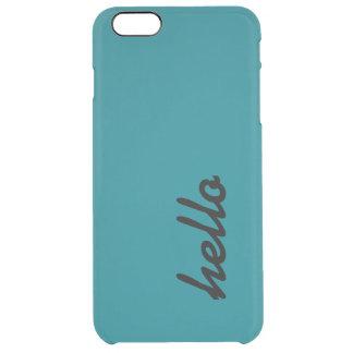 こんにちはティール(緑がかった色)の電話箱 クリア iPhone 6 PLUSケース