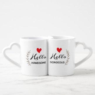 こんにちはハンサムで及び豪華なコーヒー・マグセット ペアカップ