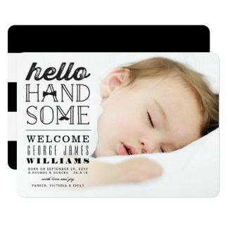 こんにちはハンサムな男の赤ちゃんの写真の誕生の発表 カード