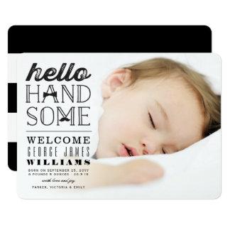 こんにちはハンサムな男の赤ちゃんの写真の誕生の発表 12.7 X 17.8 インビテーションカード