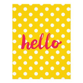 こんにちはパステル調の黄色い水玉模様の背景で レターヘッド