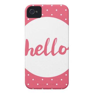 こんにちはパステル調ピンクの水玉模様の背景で Case-Mate iPhone 4 ケース