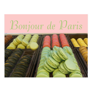 こんにちはパリの有名なフランス語Macroonsから ポストカード