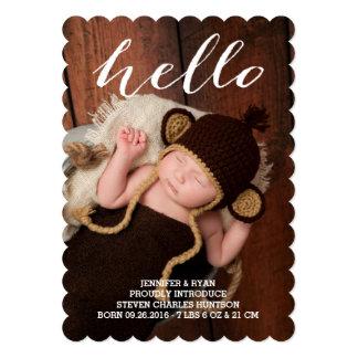 こんにちはベビーのモダンな誕生の発表のフォトカード カード