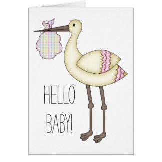 こんにちはベビーの挨拶状-ピンクのこうのとり カード