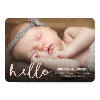 こんにちはモダンな誕生の発表のピンク カード
