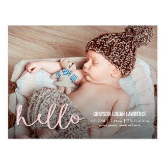 こんにちはモダンな誕生の発表 ポストカード