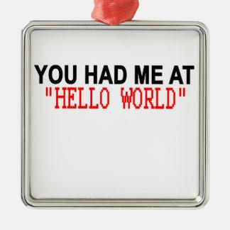 こんにちは世界のワイシャツM.pngで私がありました メタルオーナメント