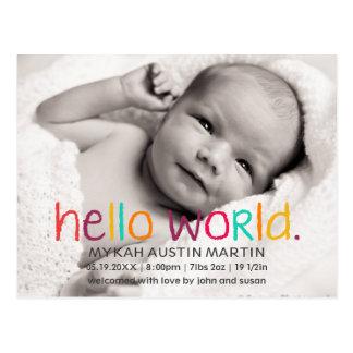 こんにちは世界の写真の誕生の発表の郵便はがき ポストカード