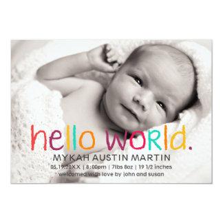 こんにちは世界の写真の誕生の発表 カード