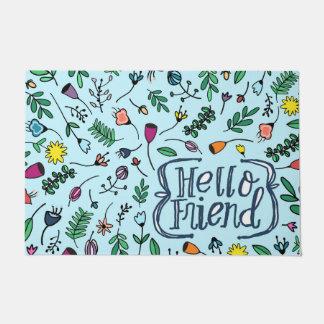 こんにちは友人のタイポグラフィ|の菓子の花柄パターン ドアマット