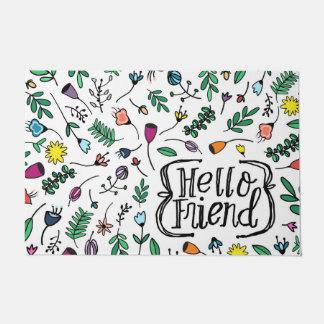 こんにちは友人の印刷の甘い花パターン ドアマット