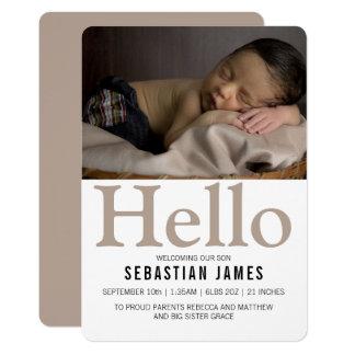 こんにちは名前入りな新生児の暗灰色 カード