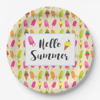 こんにちは夏のアイスキャンデーおよびアイスクリーム ペーパープレート