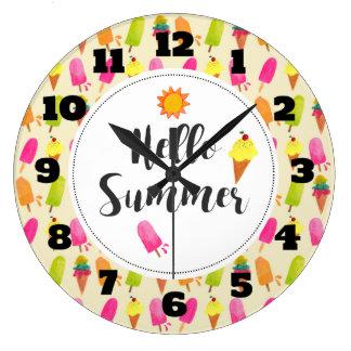こんにちは夏のアイスキャンデーおよびアイスクリーム ラージ壁時計